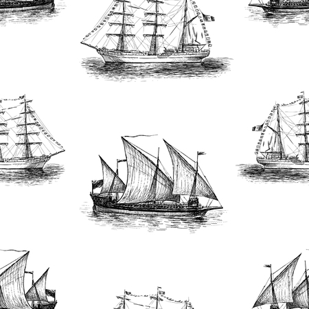 Background of sketches of sailing vessels Vectores