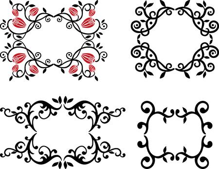 A set of decorative floral frames Ilustração