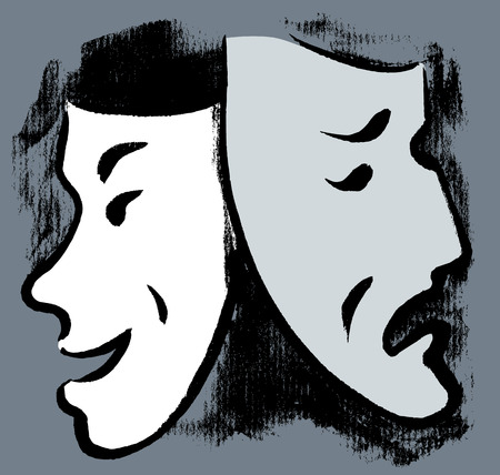 Vector drawing of dramatic masks Иллюстрация