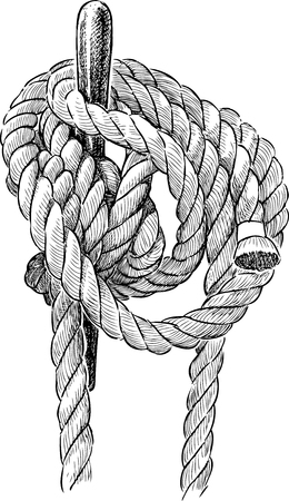 Knotted rope of the rigging of a sailing ship
