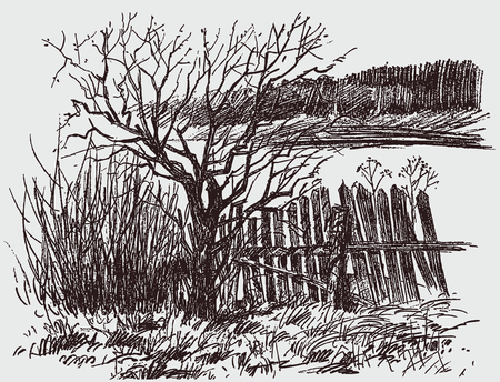 Pencil sketch of a rural landscape in spring