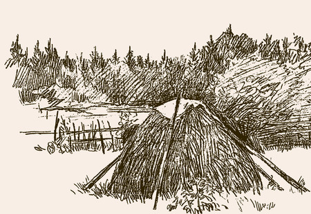 Sketch of a haystacks on a rustic courtyard