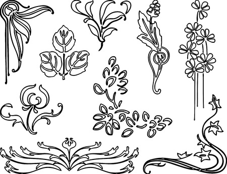 A set of various floral elements