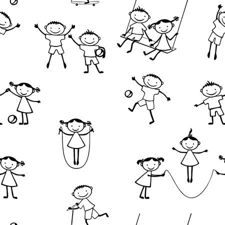 Pattern of cheerful active children Ilustração
