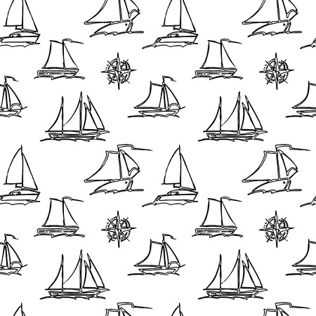 Seamless pattern of saiing yachts Иллюстрация