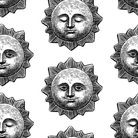 Seamless pattern of smiling and sleeping suns