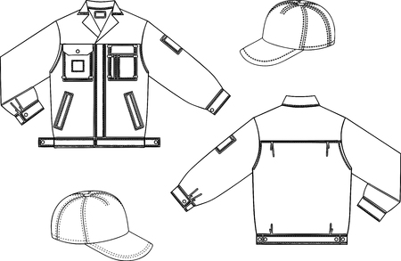 Vector drawing of a denim uniform and baseball caps