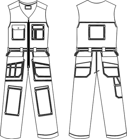 Vector drawing of working overalls