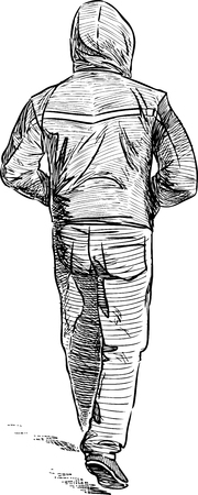 Hand drawing of a walking man in a hood