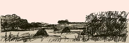 Pencil sketch of an autumn rural landscape Çizim