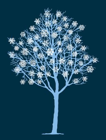 Vector image of a frozen tree in winter