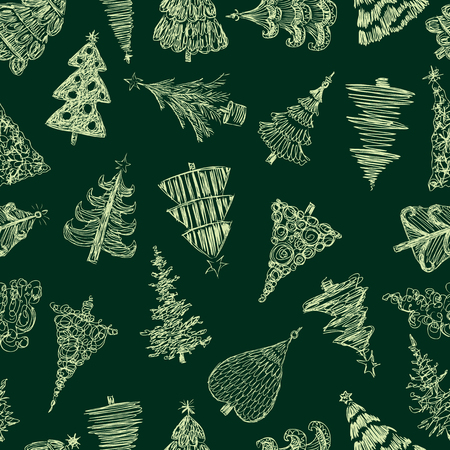 Seamless background of sketches of christmas trees Vetores