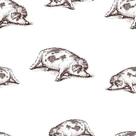 Seamless pattern of a lazy sleeping pig