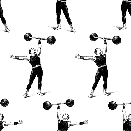 Seamless pattern of a vintage athlete with a barbell