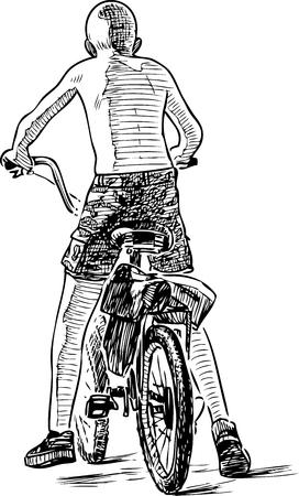 Sketch of a teen boy biking on a summer day Vectores