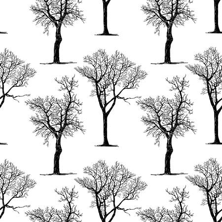 Seamless pattern of trees silhouettes