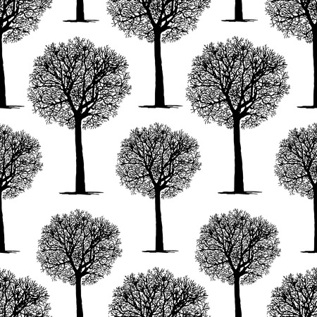 Vector background of silhouettes of trees