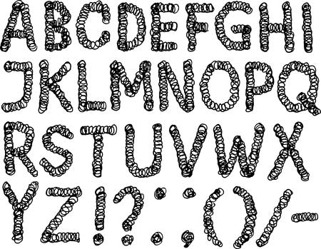Vector image of drawn decorative alphabet Illusztráció