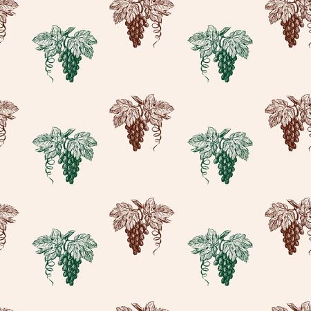 Modèle sans couture de grappes de raisin mûr Vecteurs