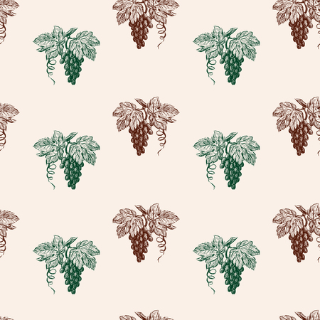 Seamless pattern of ripe grape clusters