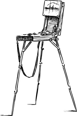 A hand drawing of an artistic easel
