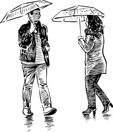 A casual urban pedestrians in the rain Ilustração