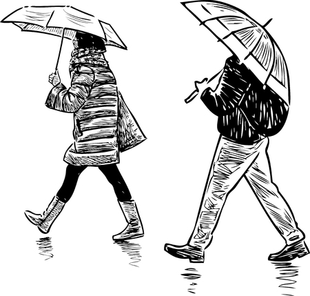 A sketch of casual pedestrians walking in the rain