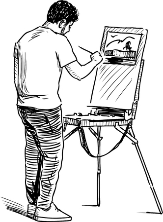 An artist painting in open air