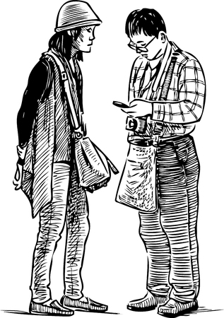 Sketch of a couple of sightseers Illustration