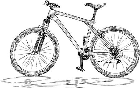 A sketch of a bicycle for a strolls Ilustração