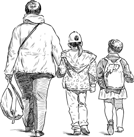 A townswoman with two little girl going from a school