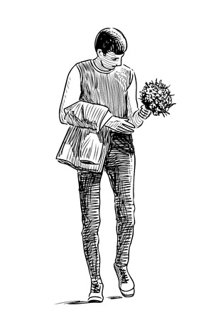 A young man with a bouquet goes on a date Ilustração