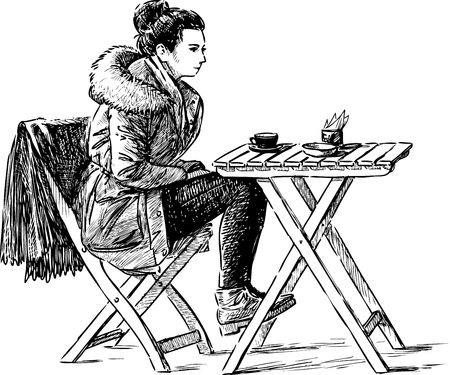 A young townswoman drinking tea in an outdoor cafe Ilustrace