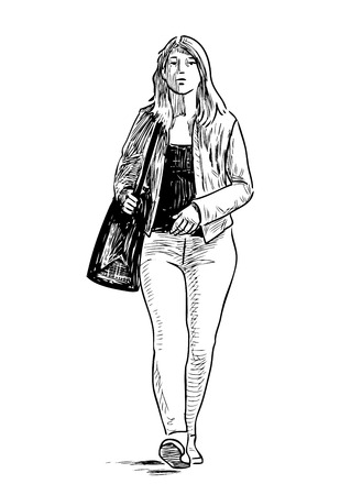 Sketch of a casual girl walking down the street Ilustração