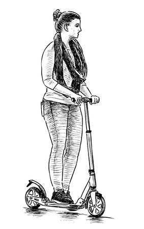 Sketch of a girl riding a scooter