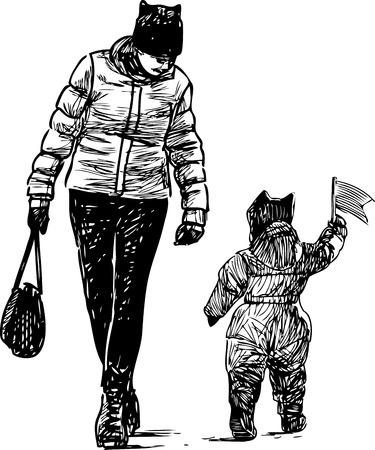 Sketch of a mother with her playful kid Ilustração