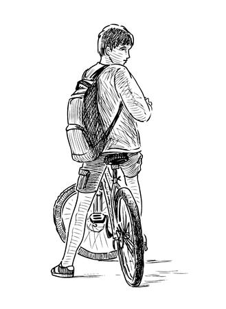 Bosquejo, de, un, muchacho adolescente, en, un, bicicleta
