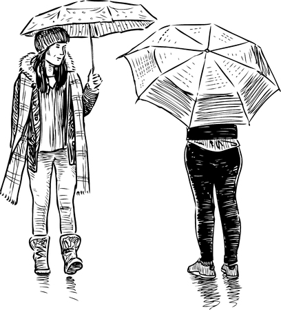 Sketch of teens girls meeting in the rain