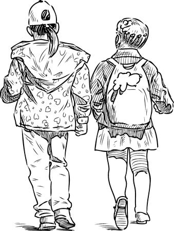 Sketch of two little girls walking down the street