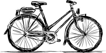 A hand drawing of a bicycle for a stroll