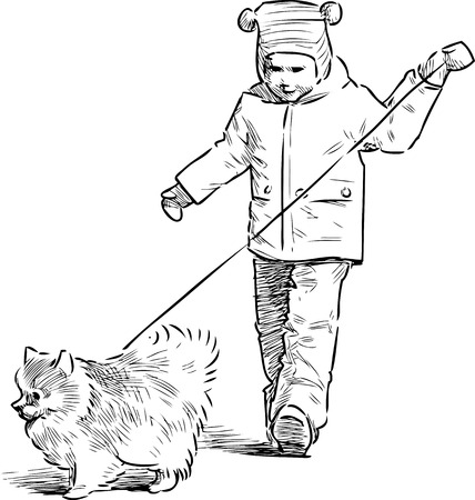 A little child with his pet going on a stroll Ilustrace