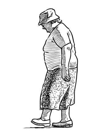 A senior woman goes for a stroll Ilustrace
