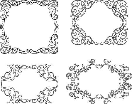 A set of decorative floral frames Çizim