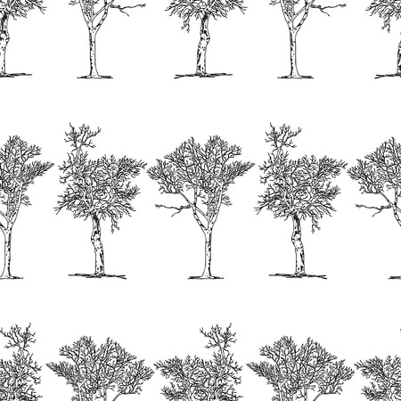 Seamless background of drawn trees