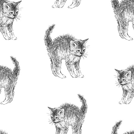 Seamless background of kitten sketches