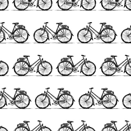 Seamless background of sketches of bikes