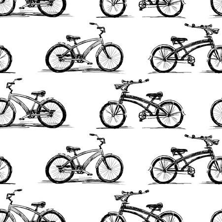 Seamless pattern of bicyles sketches