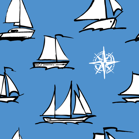 seamless pattern of sailboats sketches
