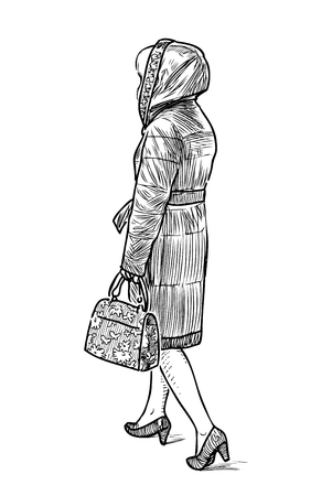 Sketch of a casual townswoman going down the street