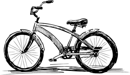 Sketch of a modern walking bicycle Ilustrace